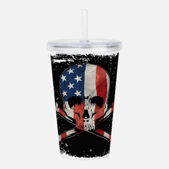 Skull with American Fl Acrylic Double-wall Tumbler