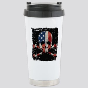 Skull with American Fla Stainless Steel Travel Mug