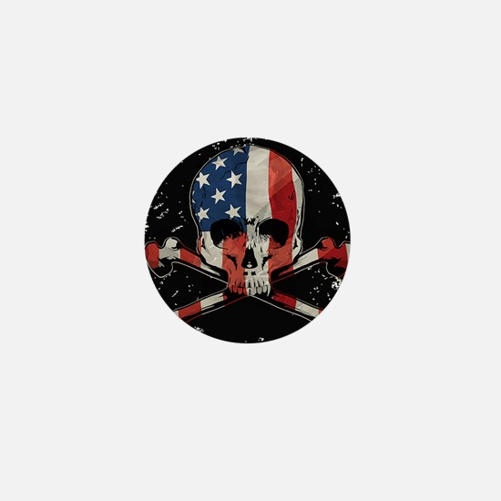Skull with American Flag Mini Button