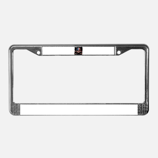 Skull with American Flag License Plate Frame
