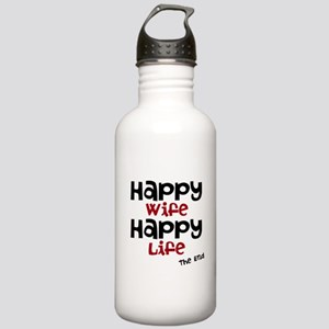 Happy Wife Happy Life The End Water Bottle