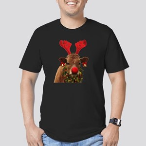 Christmas Cow Men's Fitted T-Shirt (dark)