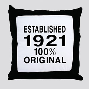 Established In 1921 Throw Pillow