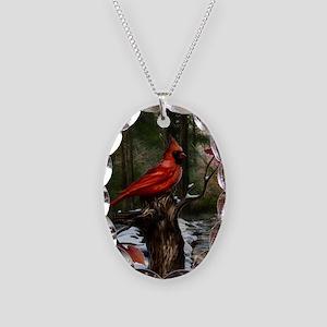 cardinal bird art Necklace Oval Charm