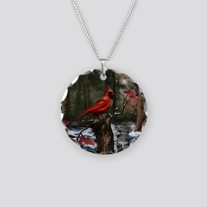 cardinal bird art Necklace Circle Charm