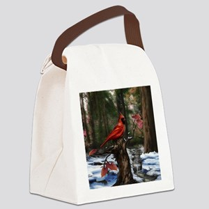 cardinal bird art Canvas Lunch Bag