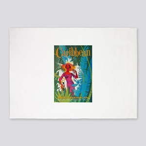 Caribbean Travel Poster 5'x7'Area Rug