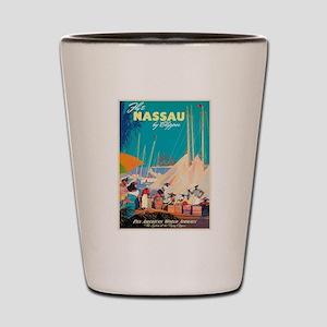 Nassau Bahamas Vintage Travel Poster Shot Glass