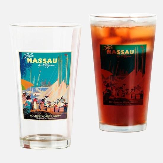 Nassau Bahamas Vintage Travel Poste Drinking Glass
