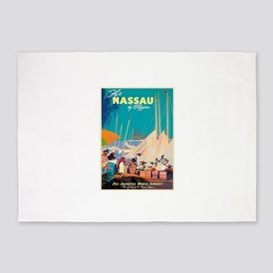 Nassau Bahamas Vintage Travel Poste 5'x7'Area Rug