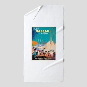 Nassau Bahamas Vintage Travel Poster Beach Towel