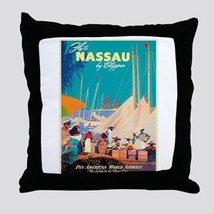 Nassau Bahamas Vintage Travel Poster Throw Pillow