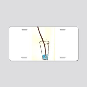 drink and straw Aluminum License Plate