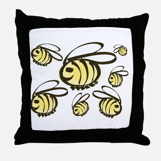 Happy Bees! Throw Pillow