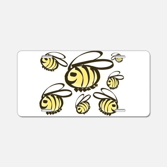 Happy Bees! Aluminum License Plate