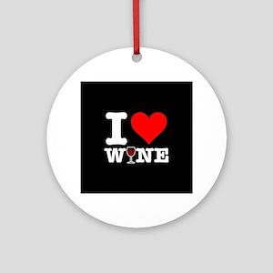 I Heart Wine Round Ornament