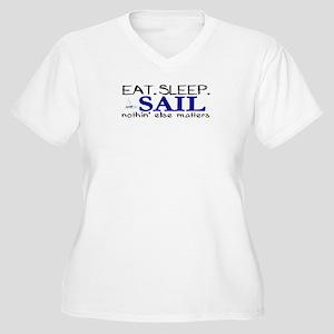 Eat Sleep Sail Women's Plus Size V-Neck T-Shirt