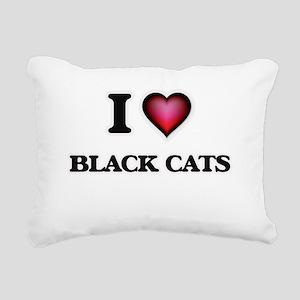 I love Black Cats Rectangular Canvas Pillow