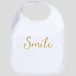 Smile Gold Faux Foil Glitter Metallic Quo Baby Bib