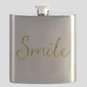 Smile Gold Faux Foil Glitter Metallic Quote Flask