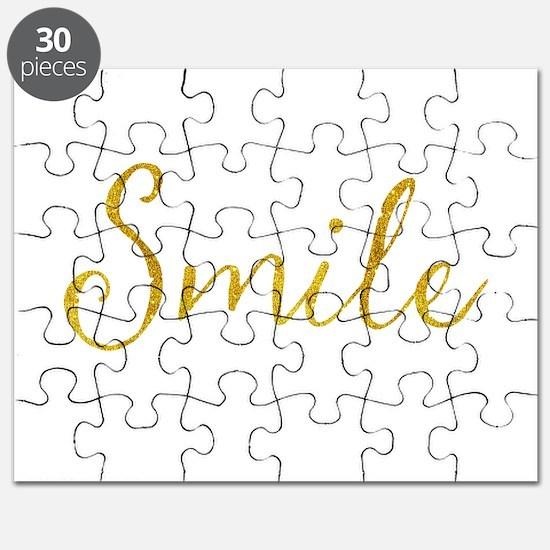 Smile Gold Faux Foil Glitter Metallic Quote Puzzle