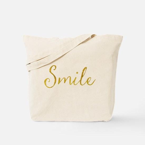 Smile Gold Faux Foil Glitter Metallic Quo Tote Bag