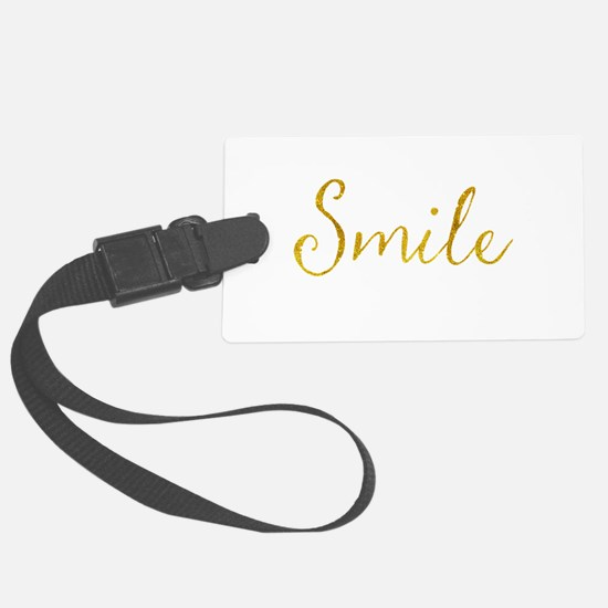 Smile Gold Faux Foil Glitter Met Luggage Tag