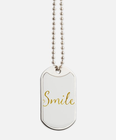 Smile Gold Faux Foil Glitter Metallic Quo Dog Tags