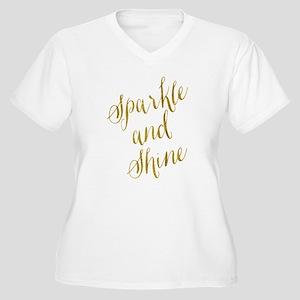 Sparkle and Shine Gold Faux Foil Plus Size T-Shirt
