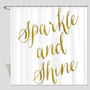 Sparkle And Shine Gold Faux Foil Me Shower Curtain
