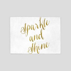 Sparkle and Shine Gold Faux Foil Me 5'x7'Area Rug