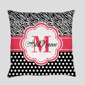 Pink Black Zebra Stripes Polka Dot Everyday Pillow