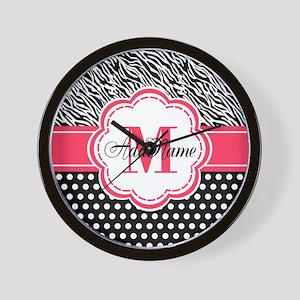 Pink Black Zebra Stripes Polka Dot Wall Clock