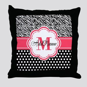Pink Black Zebra Stripes Polka Dot Throw Pillow