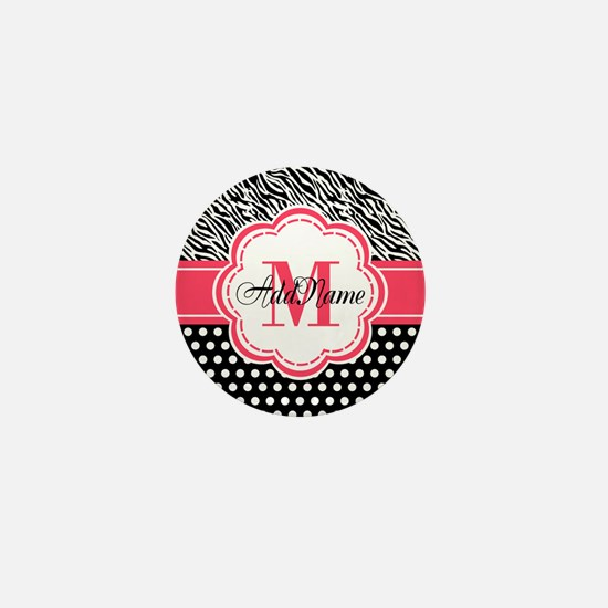Pink Black Zebra Stripes Polka Dot Mini Button