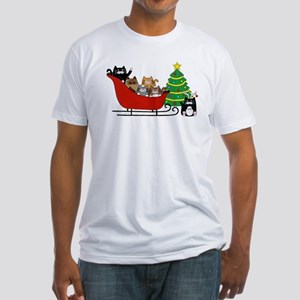 6 Kitty Cat, Sleigh Christmas Tree -  T-Shirt