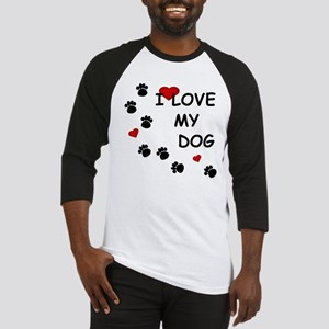 I Love my Dog Paw Prints Baseball Jersey
