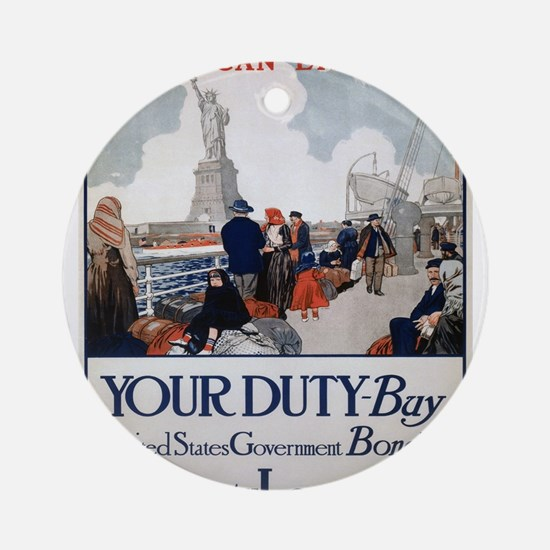 Vintage poster - Statue of Liberty Round Ornament