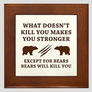 Except For Bears Framed Tile