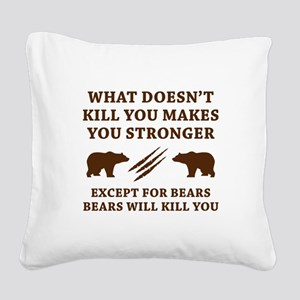 Except For Bears Square Canvas Pillow