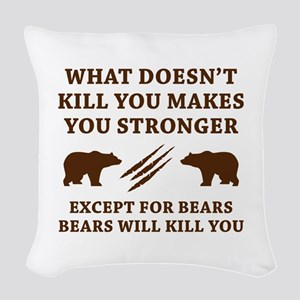 Except For Bears Woven Throw Pillow