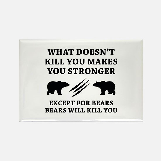 Except For Bears Rectangle Magnet