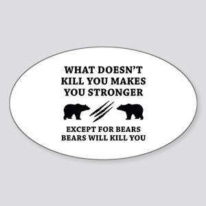 Except For Bears Sticker (Oval)
