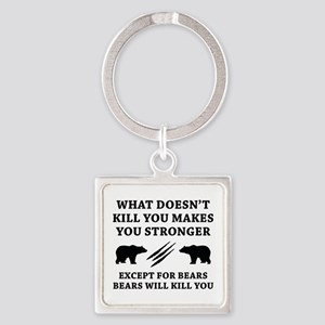 Except For Bears Square Keychain