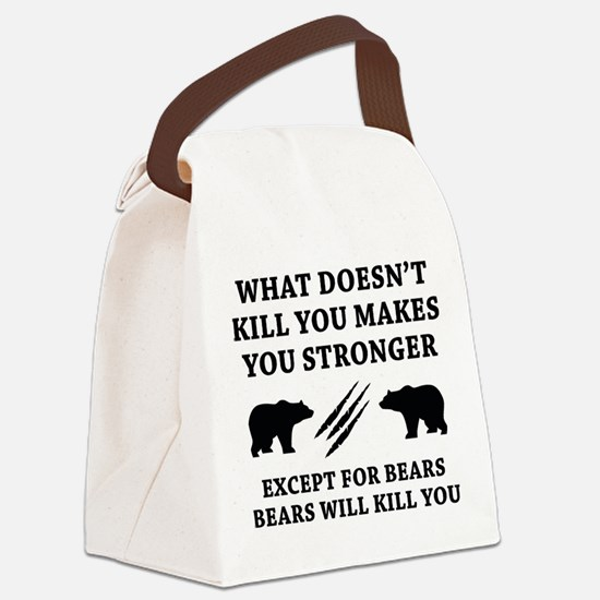 Except For Bears Canvas Lunch Bag