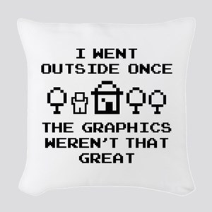 I Went Outside Once Woven Throw Pillow