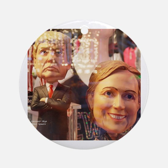 Donald and Hillary Round Ornament