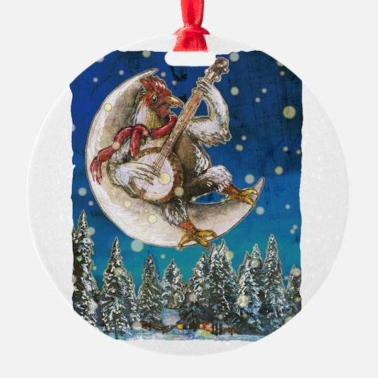 Banjo Chicken Moon Ornament
