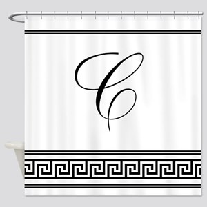 Monogram Letter C Greek Key Art Decoshower Curtain