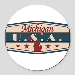 Michigan, USA Round Car Magnet